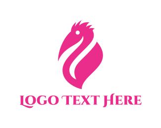 Beak - Pink Pelican logo design