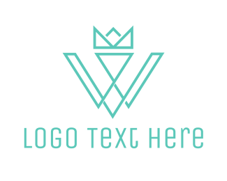 Typography - Crown W Outline logo design