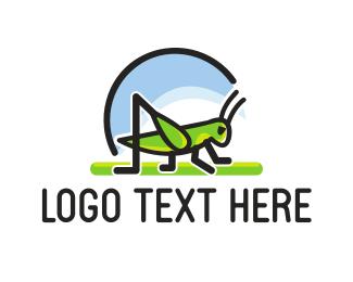 Swarm - Green Grasshopper logo design