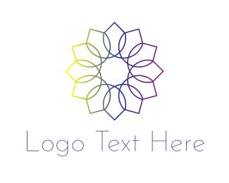 Line Art - Rainbow Flower logo design