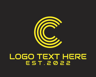 """Futuristic Yellow Letter C"" by BrandCrowd"