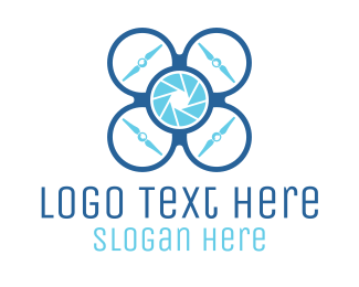 Drone - Blue Quadcopter Drone logo design