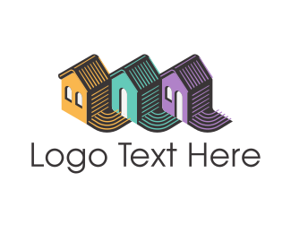 Neighborhood - House Trio logo design