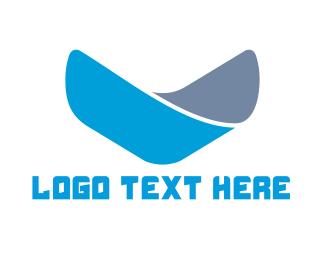 Down - Blue Letter V logo design