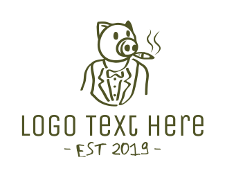 Tobacco - Smoking Pig logo design