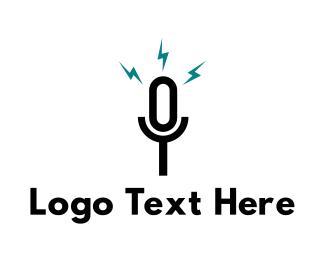 Singer - Black Microphone logo design