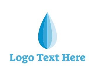 Umbrella - Blue Water Droplet logo design