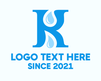 Water - Letter K Drops logo design