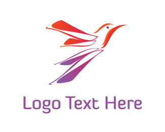 Colibri - Red Hummingbird logo design