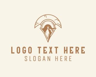 Shield - Spartan Helmet logo design