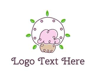 Candy - Cupcake & Leaves logo design
