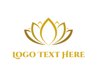 Floral - Golden Lotus logo design