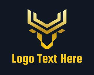Bank - Geometric Buffalo logo design