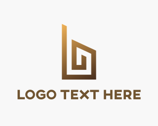 Build - Golden Letter B logo design