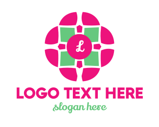 Female - Flower Tile logo design