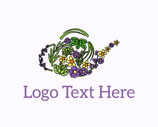 Herbal - Floral Teapot  logo design
