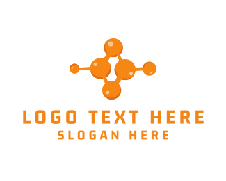 Radioactive - Orange Molecule logo design