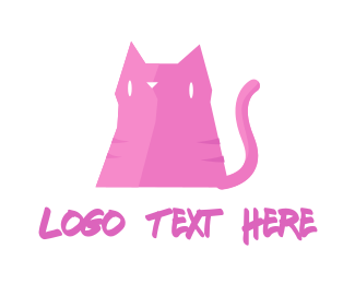 Whiskers - Pink Cat logo design