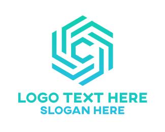"""Blue Hexagon C Pattern"" by eightyLOGOS"