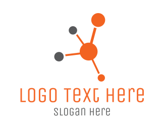 Social Network - Orange Molecule logo design