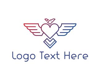 Vulture - Heart & Bird logo design