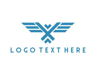Veteran - Geometric Blue Falcon logo design