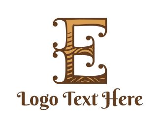 Wooden - Wooden Letter E logo design