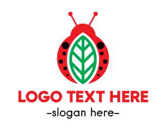 Lady Bug - Leaf  & Bug logo design