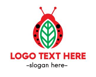 Bug - Leaf  & Bug logo design
