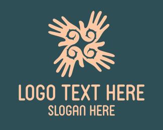 Nail Polish - Hand Flower logo design