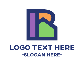 Residential - Colorful R House logo design