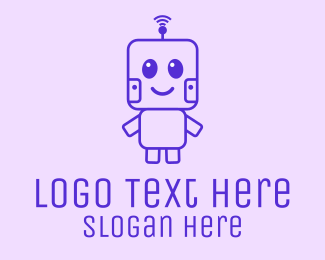 Adorable - Cute Outline Robot logo design