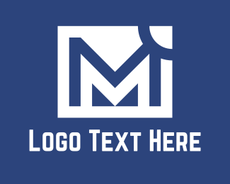 Blue And White - White M logo design
