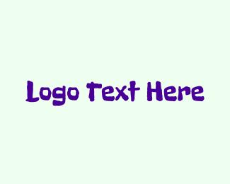 Handwriting - Purple Crayon logo design