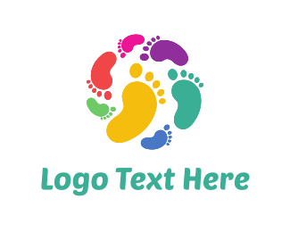 Heel - Colorful Footprints logo design