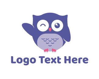 Wink - Owl Wink logo design