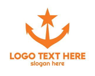 Naval - Orange Star Anchor logo design