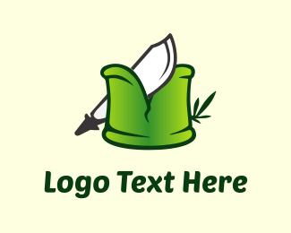 Log - Knife & Bamboo logo design