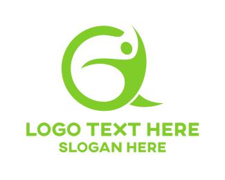 Man - Green Human G logo design