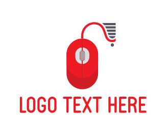 Shopping Cart - Red Mouse logo design