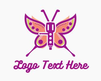 Disc Jockey - Robot Butterfly logo design