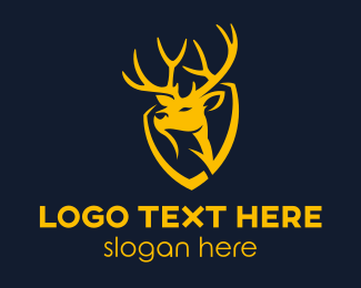 Yellow Shield Reindeer Logo Maker