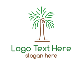 Coconut - Abstract Coconut Tree logo design