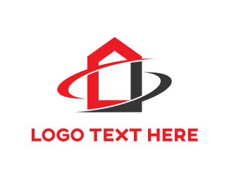 Construction - Red & Black House logo design