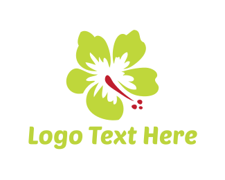 Hawaii - Green Hibiscus logo design