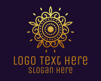 Greeting Card - Gold Flower Mandala  logo design