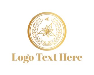 Floral - Golden Leaves logo design