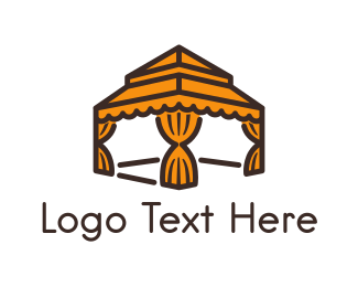 Tent - Orange Gazebo  logo design