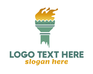 Torch - Lady Liberty Torch logo design