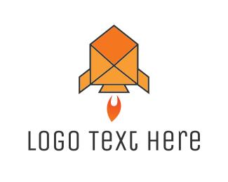 Spaceship - Mail Rocket logo design